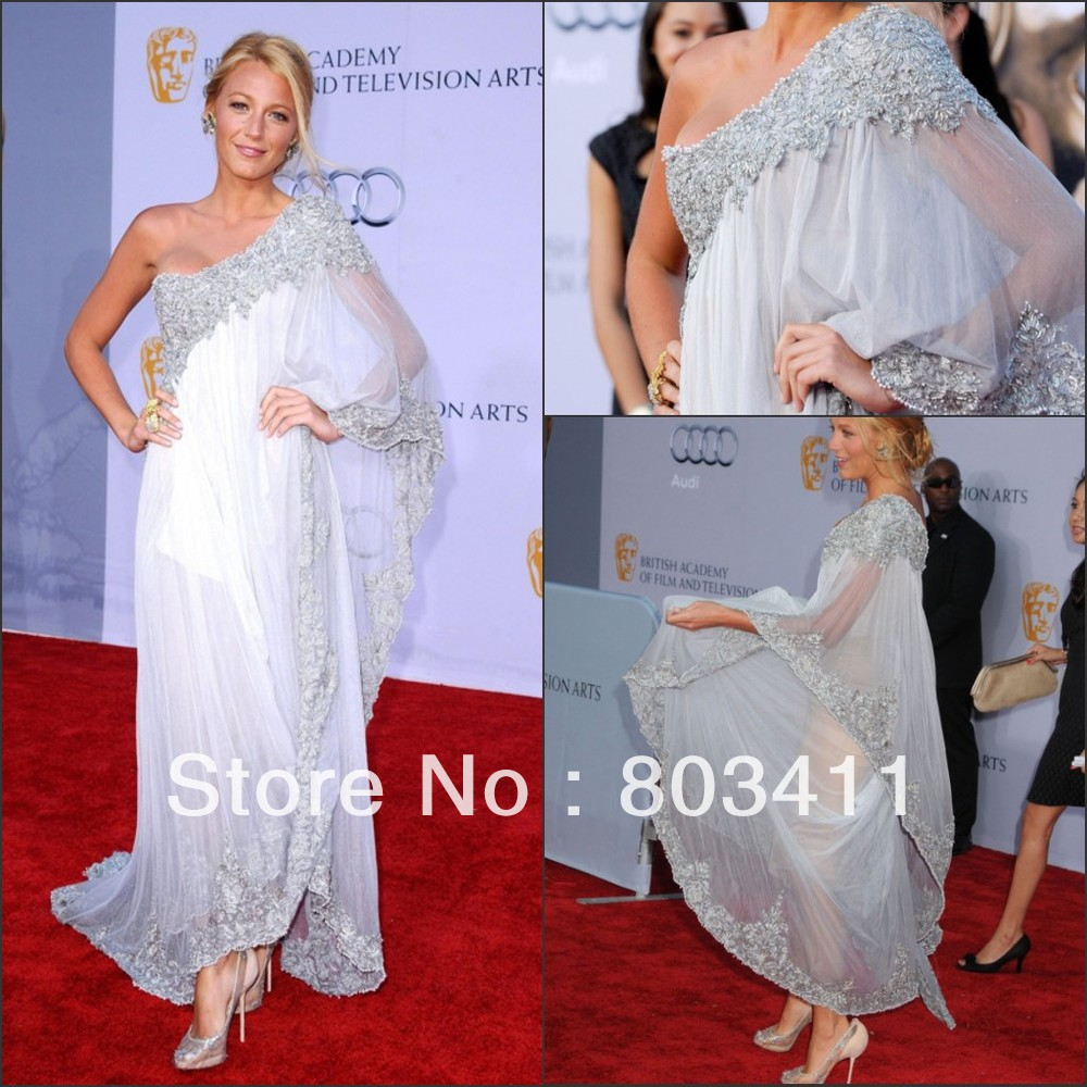 Customized Made Glitter Blake Lively Bafta One Shoulder Red Carpet Celebrity Dresses-in Celebrity-Inspired Dresses from Apparel & Accessories on Aliexpress.com