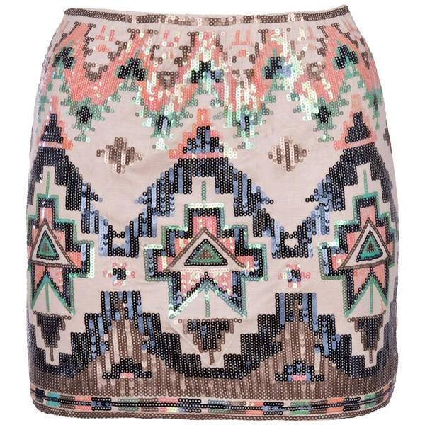 Cream Sequin Aztec Skirt - Polyvore