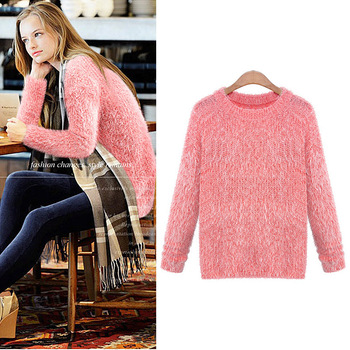 2013 Autumn Women New Arrival Pink Long Sleeve Mohair Fluffy Pullover Knitted Blend Sweater Jumper-in Pullovers from Apparel & Accessories on Aliexpress.com