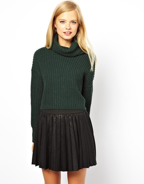 ASOS | ASOS Cropped Jumper With Roll Neck In Chunky Rib at ASOS