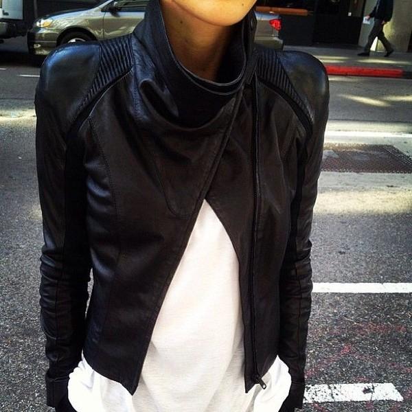 jacket leather jacket perfecto leather black