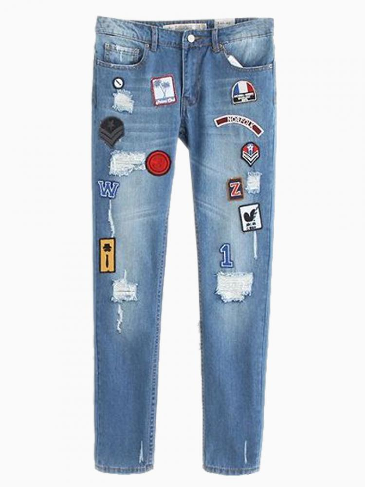 New Look Skinny Patch Jeans | Choies