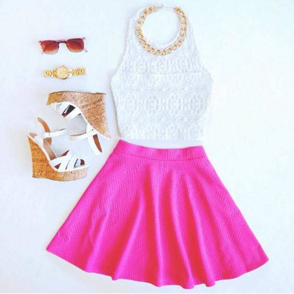 blouse skirt shoes jewels top white crop tops accessories style sunglasses wedges necklace skater skirt girly watch gold hot shirt lace top summer top pink fashion pinterest tank top dress white top pink skirt cute outfits