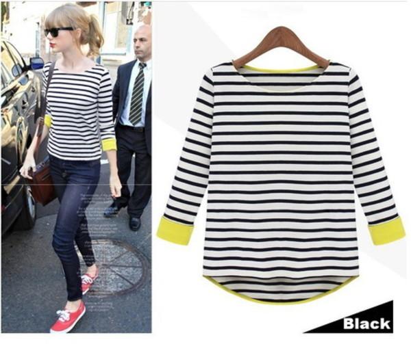 shirt celebrity style taylor swift nautical stripes striped shirt stripes stripes t-shirt celebrity celebrity style stealer girly retro