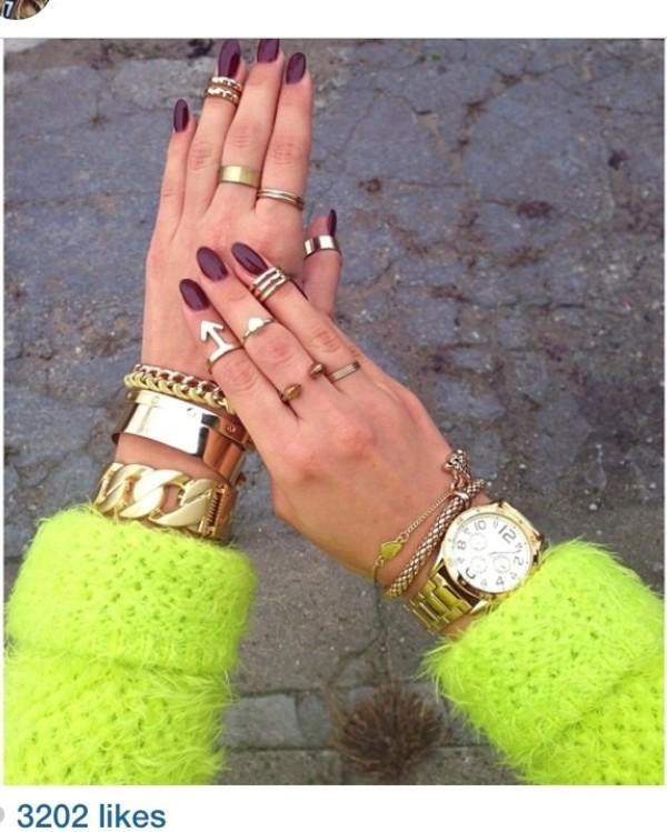 jewels sweater neon gold jewelry ring bracelets sweater