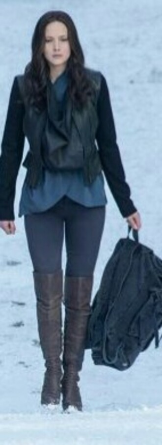 shoes overknee tigh high boots boots brown brown leather boots katniss everdeen jennifer lawrence