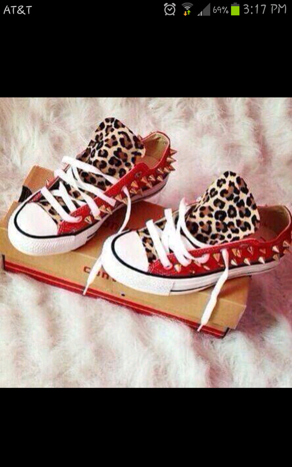 shoes converse chuck taylor all stars allstar leopard print spiked shoes spikes red gold