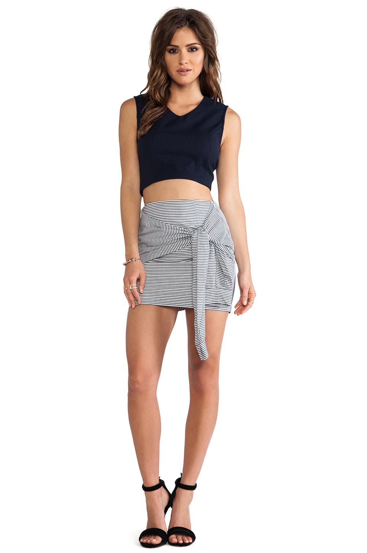 JOA Two-Fer Striped Skirt in Navy Stripe | REVOLVE