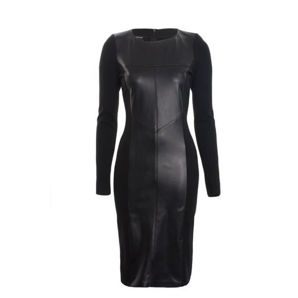 Isabel De Pedro Dress Long Sleeve Leather in Black - Polyvore