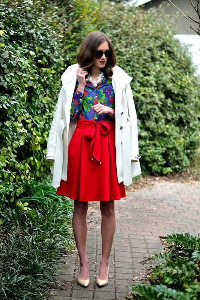 book of leisure blogger red skirt floral shirt white coat