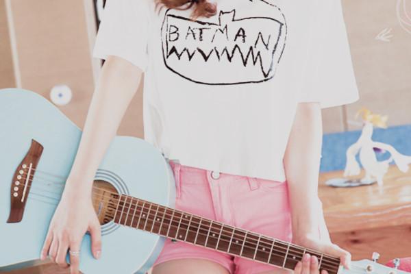 shirt kawaii pastel cute pink batman lovely bat new girl teenagers shorts short pink short summer outfits t-shirt top