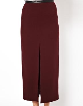 ASOS | ASOS Pencil Skirt with Split Front and PU Waistband at ASOS