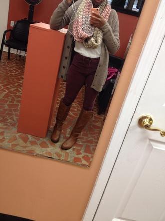 jeans burgundy corduroy high waisted infinity scarf sweater