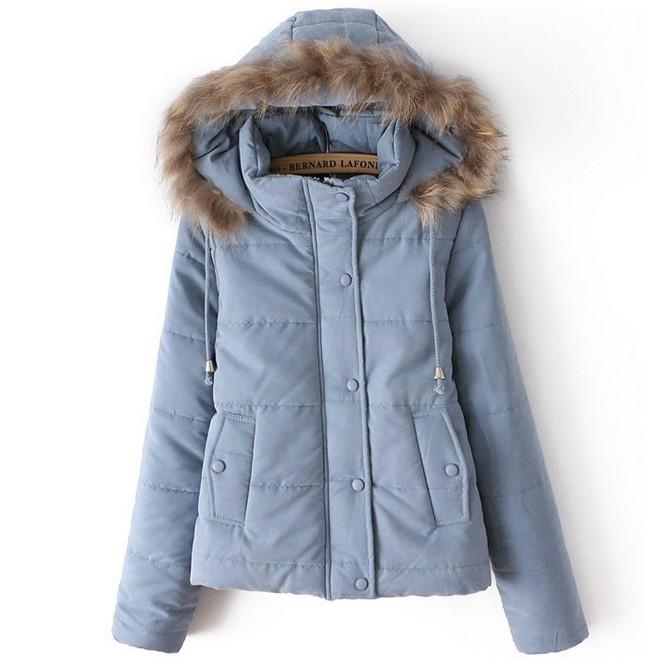 Slim Hooded Fur Collar Long-sleeved Cotton Simple Fashion Multicolor BBBEBD on Luulla