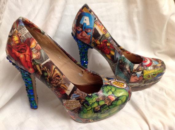 Avengers comic and rhinestone heels by ShoebeedooBoutique on Etsy