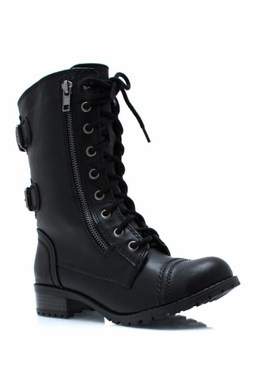Double-Buckle-Back-Combat-Boots BLACK DKBROWN TAN TAUPE - GoJane.com