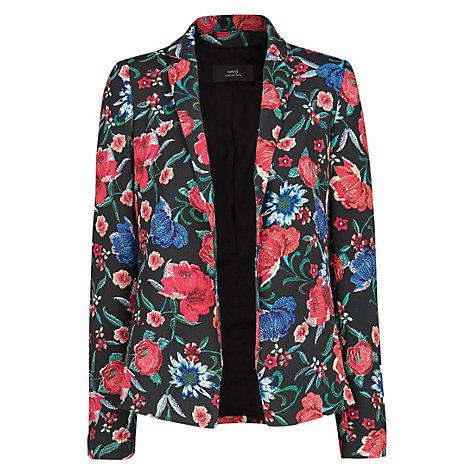 Buy Mango Floral Print Blazer, Black online at John Lewis