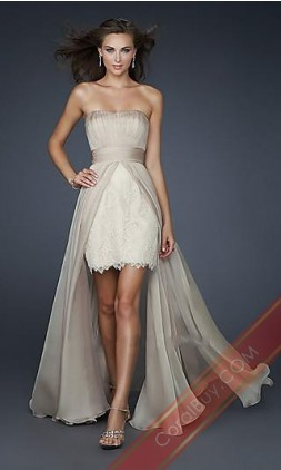 Strapless Nude High Low Dress By La Femme 17547