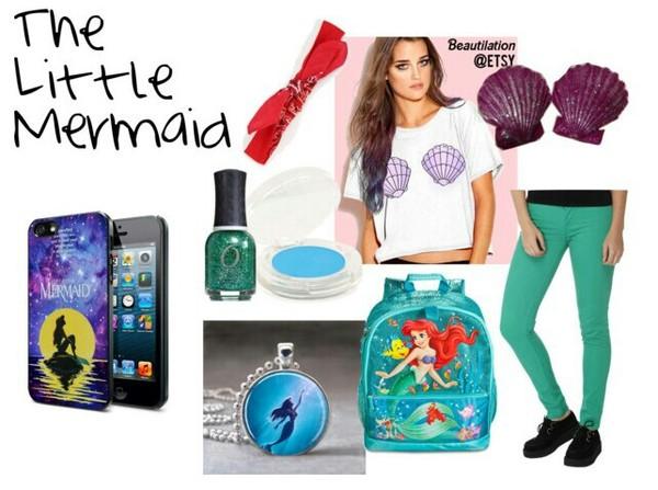 bag shirt the little mermaid the little mermaid disney necklace jewels