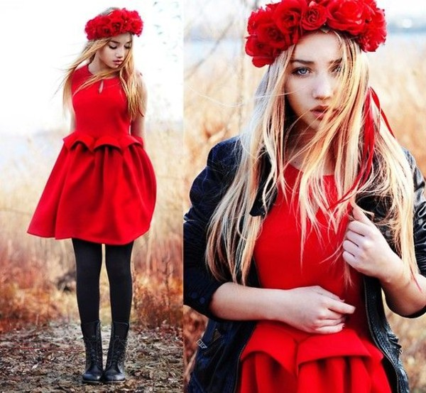 dress red dress flower crown leather jacket tights black tights boots self made flower crown aksinya air underwear shoes jacket ukraine