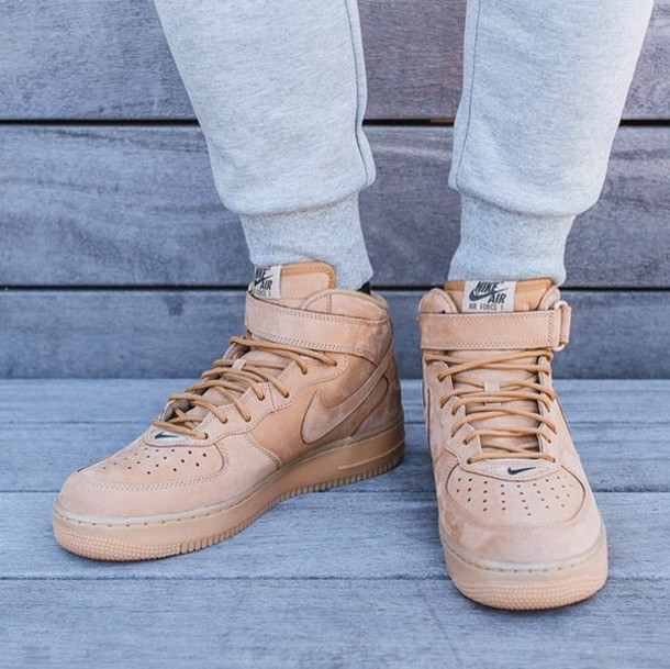 shoes flax nike air force 1 mid sweatpant sneakers trainers style