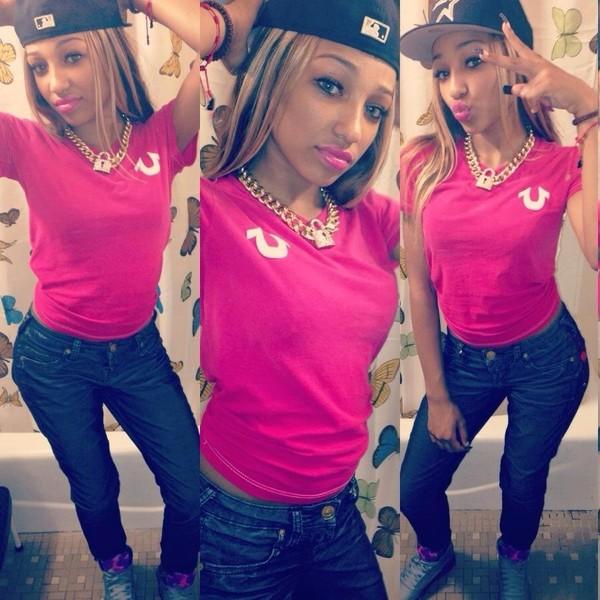 t-shirt pink shirt tumblr instagram fvkin jewels shoes