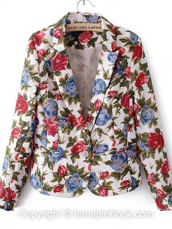 jacket floral jacket floral jacket seen in picture vintage floral vintage jacket vintage blazer jacket blazer beige long handpicklook.com