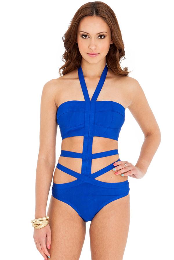 swimwear monokini bandage beach bikini dazzling blue redorange bodycon riviera sassy