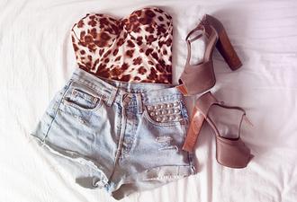 shoes top leopard bustier brown heels leopard print tank top bustier shorts denim shorts studded shorts high heels medium heels brown shoes shirt