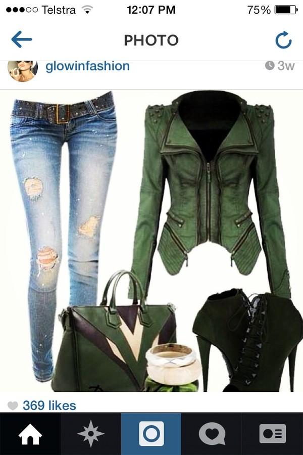 jacket green leather jacket zips studs jeans shoes heels handbag jewelry style fashion hot tumblr outfit girl bracelets bag