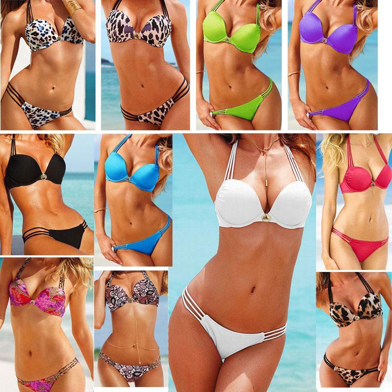 Hot Bikini Set Bandeau Top Bottom Push Up Sexy Leopard Women's Swimwear Swimsuit | eBay