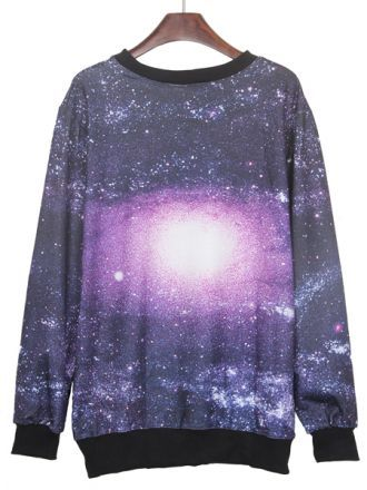 BLACK AND PURPLE ROUND NECK GALAXY PRINT RIBBED SWEATESHIRT - SHEINSIDE.COM on The Hunt