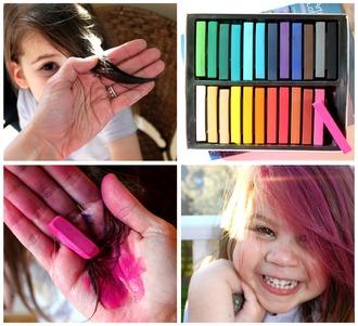 nail polish hair dye colorful pastel hair