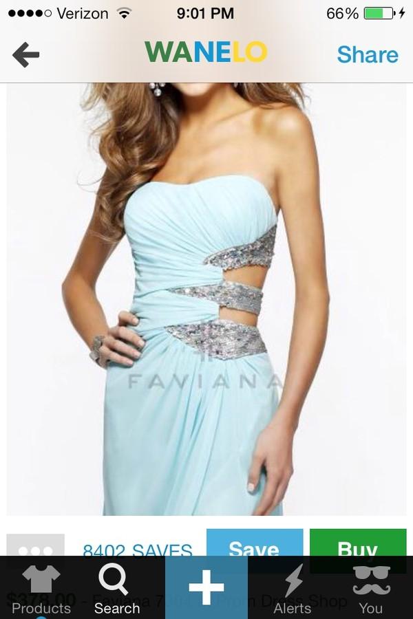 dress light blue prom dress strapless cut-out
