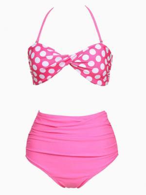 Pink Polka Dot High Waisted Triangle Bikini | Choies