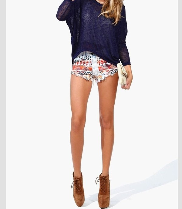 shorts aztec tribal bright cutoff shorts