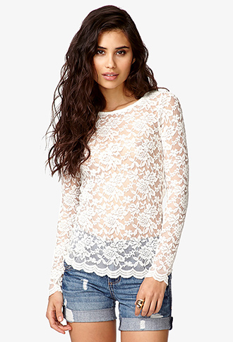 Scalloped Lace Top | FOREVER21 - 2043619413