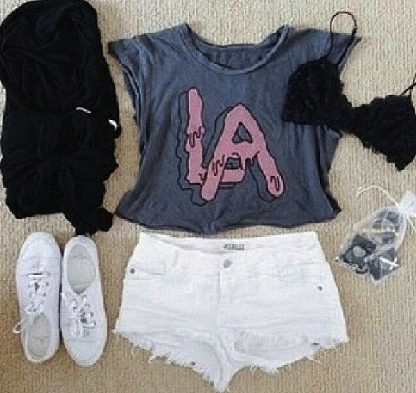 tank top clothes la shirt pants white black shoes cute pretty greyish pinik pink purple clothes shorts t-shirt underwear