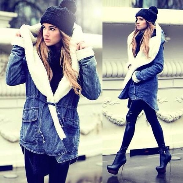 hat coat pants shoes shearling jacket jeans blue fur coat girly