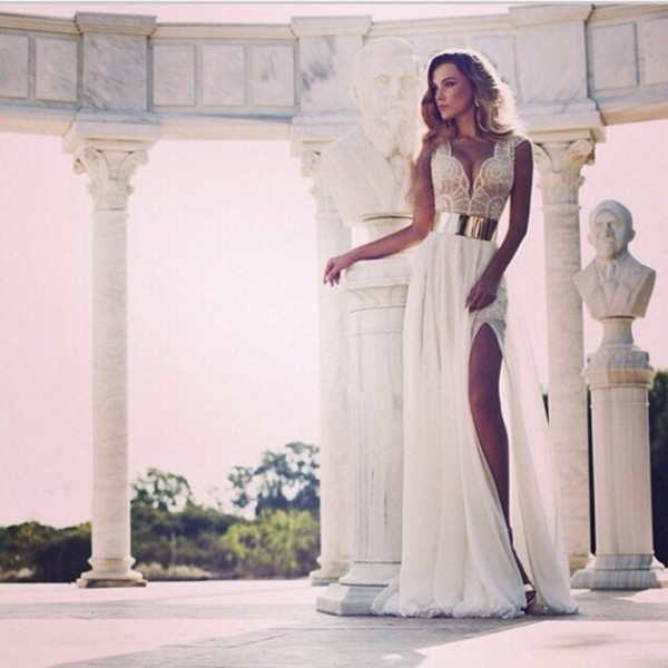 dress white dress maxi dress white maxi dress sexy dress party dress white chiffon lace gold belt gold belt