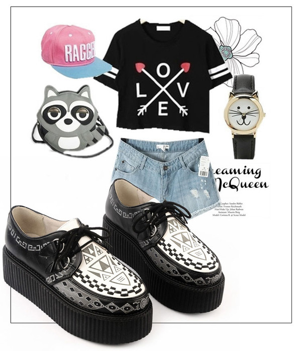 shoes creepers flats black fashion clothes bag hat cute watch platform shoes jewels outfit cap crop