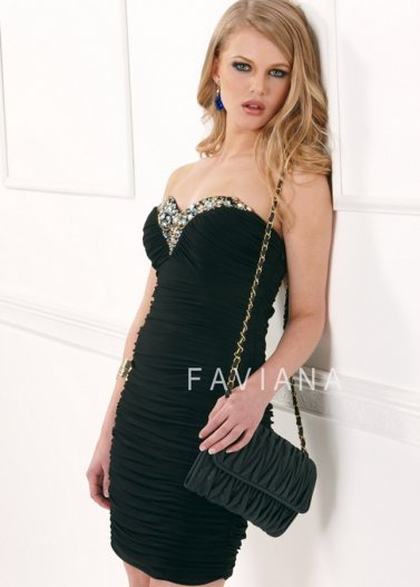 Black Ruched Rhinestone Neck Fitted Faviana 7065 Prom Dress [Faviana 7065 Black] - $158.00 : Prom Dresses 2014 Sale, 70% off Dresses for Prom