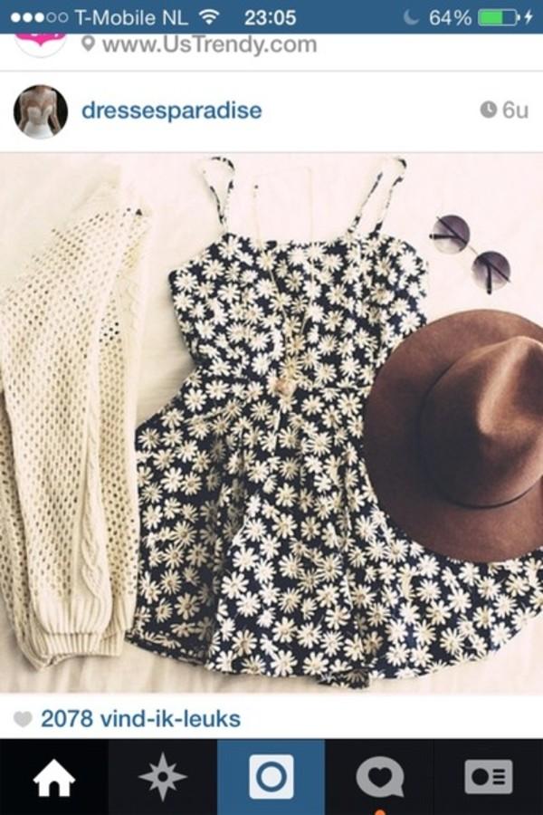 dress daisy dress crochet sweater daisy hat sweater