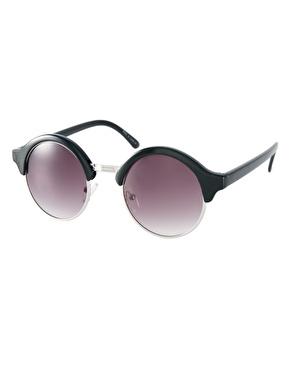 ASOS | ASOS Half Round Sunglasses With Metal Bridge Detail at ASOS