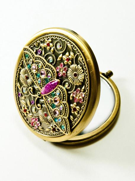 mirror butterfly pocket mirror jewels