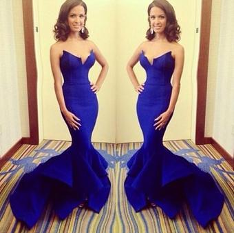 Elegant Strapless Royal Blue Big Fishtail Long Mermaid Prom Dress - Juicy Wardrobe