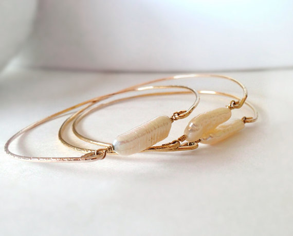 Stackable Pearl Gold Bangle Wrap Bracelet 14k by camilaestrella