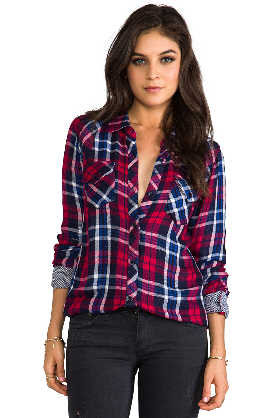 Rails Kendra Button Down in Red & White & Cobalt   REVOLVE