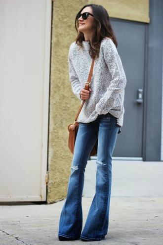 frankie hearts fashion sweater jeans bag sunglasses