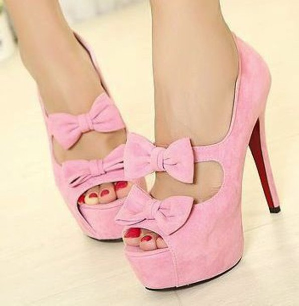 shoes pink bow shoes pretty